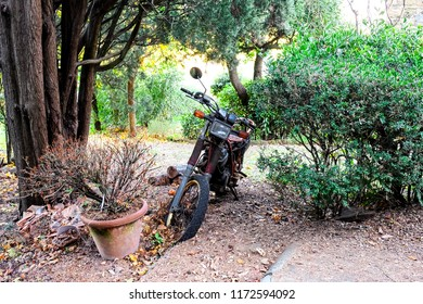 Florence, Italy - Circa November 2017: Motorcycle sits in a garden parked on a Tuscan hill.