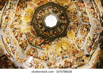 FLORENCE, ITALY - CIRCA SEPTEMBER 2009: Fresco under the dome of the  Cathedral (Duomo) in Florence, the largest brick dome ever constructed.