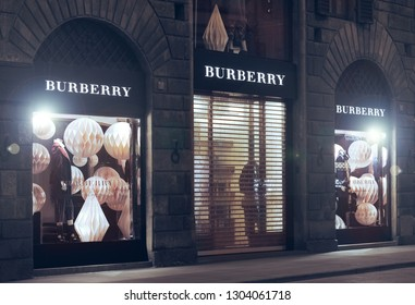 FLORENCE, ITALY - DEC ,12: BURBERRY store in Florence, one of the most luxurious shopping district in the world, in Florence, italy, 29 december 2016