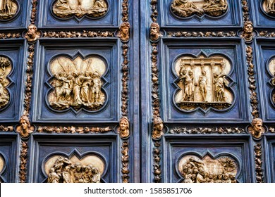 Florence, italy, detail on the outer north portal at the baptistery