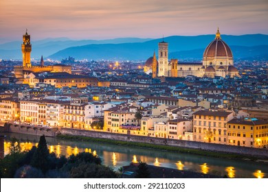 Florence, Italy. The Florence Dome under a colorful sky at sunset.