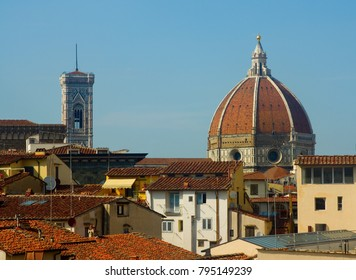 The Florence, Italy duomo just above the rooftops of the city