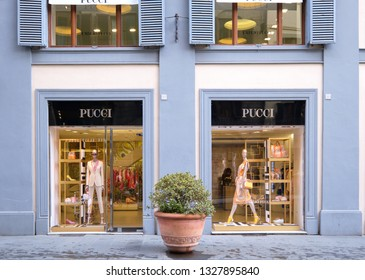 Florence, Italy - February 23, 2019: Pucci store window in the heart of Florence, Italy