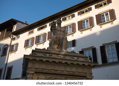 Florence, Italy - February 27, 2019 : Giovanni dalle Bande Nere statue
