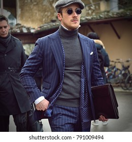 FLORENCE, Italy- January 09 2018: Man on the street during the Pitti 93