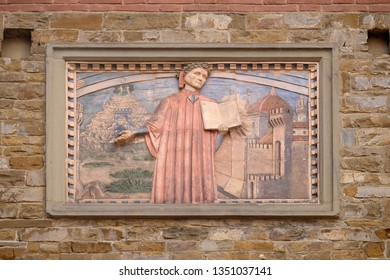 FLORENCE, ITALY - JANUARY 09, 2019: Dante Alighieri is represented in many plates along the streets of Florence, Societa Dante Alighieri Cultural Society Building, Tuscany, Italy