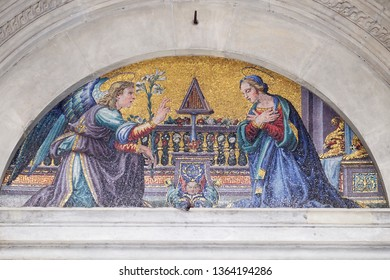 FLORENCE, ITALY - JANUARY 09, 2019: Annunciation of the Virgin Mary, Basilica della Santissima Annunziata is a Roman Catholic minor basilica in Florence, Italy, the mother church of the Servite order