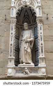 FLORENCE, ITALY - JANUARY 09, 2019: Saint Mark by Donatello, Orsanmichele Church in Florence, Tuscany, Italy