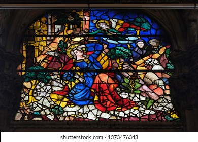 FLORENCE, ITALY - JANUARY 09, 2019: The Annunciation to Joachim, stained glass window in Orsanmichele Church in Florence, Tuscany, Italy