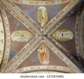 FLORENCE, ITALY - JANUARY 09, 2019: Ceiling  fresco in Orsanmichele Church in Florence, Tuscany, Italy