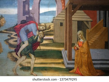 FLORENCE, ITALY - JANUARY 09, 2019: Saint Julian, transport of the leper across the river, by Jacopo del Sellaio, Orsanmichele Church in Florence, Tuscany, Italy