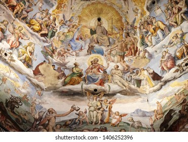 FLORENCE, ITALY - JANUARY 09, 2019: Last Judgment, fresco by Giorgio Vasari in the Cattedrale di Santa Maria del Fiore (Cathedral of Saint Mary of the Flower), Florence, Italy