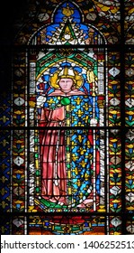FLORENCE, ITALY - JANUARY 09, 2019: Stained glass window in the Cattedrale di Santa Maria del Fiore (Cathedral of Saint Mary of the Flower), Florence, Italy