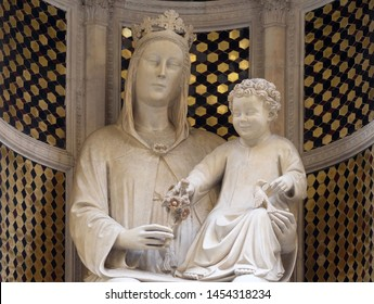 FLORENCE, ITALY - JANUARY 09, 2019: Madonna of the Rose by Pietro di Giovanni Tedesco, Orsanmichele Church in Florence, Tuscany, Italy