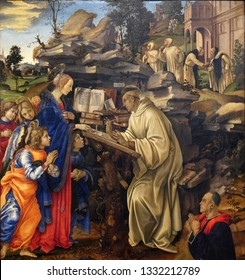 FLORENCE, ITALY - JANUARY 10, 2019: Apparition of the Virgin to Saint Bernard of Clairvaux by Filippino Lippi, Badia Fiorentina church in Florence, Italy