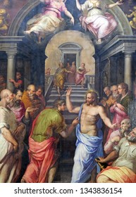FLORENCE, ITALY - JANUARY 10, 2019: The Incredulity of St. Thomas, 1572 by Giorgio Vasari, Basilica of Santa Croce (Basilica of the Holy Cross) in Florence, Italy