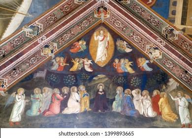 FLORENCE, ITALY - JANUARY 10, 2019: Ascension of Christ, Fresco by Andrea di Bonaiuto, Spanish Chapel in Santa Maria Novella Principal Dominican church in Florence, Italy