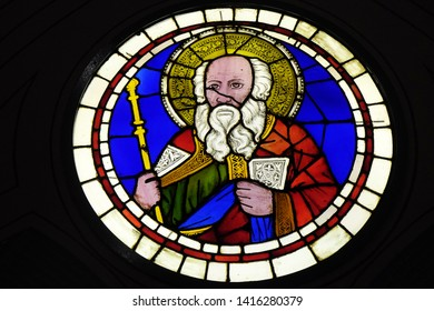 FLORENCE, ITALY - JANUARY 10, 2019: Aaron, stained-glass window Giotto di Bondone dated from the early 14th century in the Basilica di Santa Croce (Basilica of the Holy Cross) in Florence