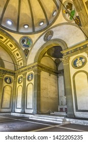 """FLORENCE, ITALY - JANUARY 11, 2018: Interior of Florence Pazzi Chapel (Cappella dei Pazzi). Chapel located in """"first cloister"""" on southern flank of Holy Cross Basilica (Basilica di Santa Croce, 1385)."""