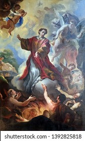 FLORENCE, ITALY - JANUARY 11, 2019: Saint Lawrence and the souls in purgatory altarpiece by Niccolo Lapi in the Basilica di San Lorenzo in Florence, Italy