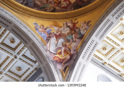 FLORENCE, ITALY - JANUARY 11, 2019: Glory of the Florentine saints, fresco by Vincenzo Meucci in the Basilica di San Lorenzo in Florence, Italy