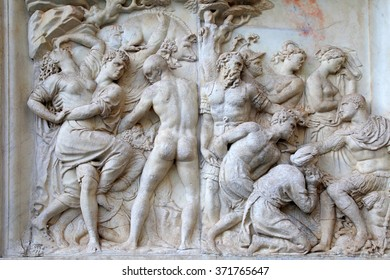FLORENCE, ITALY - JANUARY 12, 2016: Antique marble roman relief , Florence, Italy