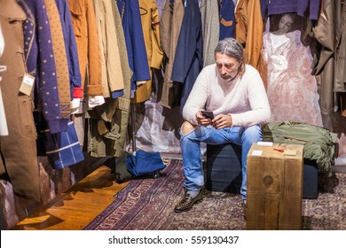 FLORENCE, ITALY - JANUARY 12, 2017 : exposition details during Pitti Uomo 2017 in Florence, Italy.