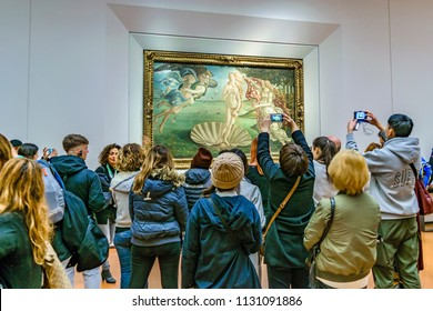FLORENCE, ITALY, JANUARY - 2018 - People taking photos of famous botticelli venus at ufizzi gallery at florence city, Italy