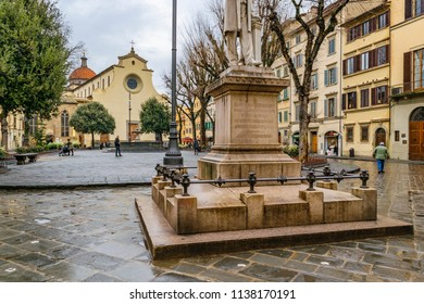 FLORENCE, ITALY, JANUARY - 2018 - Winter day scene at famous piazza santo spirito at oltrarno district in florence city, Italy
