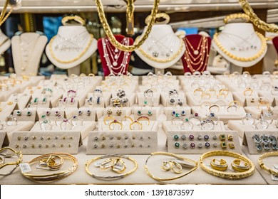 FLORENCE, ITALY - JANUARY, 2019: view of jewels shop-window of  jeweller's store in Florence, Italy