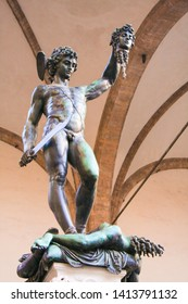 Florence, Italy- January 20,2011: A display of the replica statue of Perseus with the head of Medusa at Piazza della Signoria.
