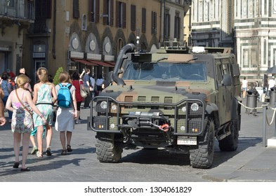 FLORENCE, ITALY - JULY 02:2016; A Iveco fighting machine security in the city center, in Florence, italy, on 02 July 2017