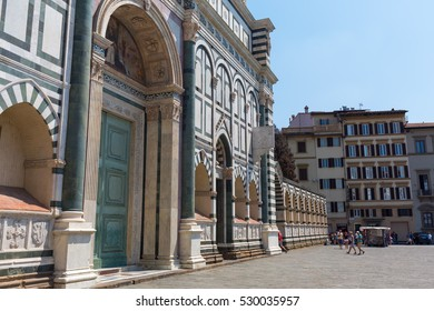 Florence, Italy - July 06, 2016: Basilica Santa Maria Novella with unidentified people. Its the citys principal Dominican church, famous are frescoes by masters of Gothic and early Renaissance