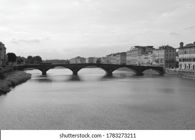Florence (Italy) July 2020 - Ponte alla Carraia, bridge in Florence.