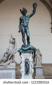 Florence Italy July 2nd 2015 : Perseus with the Head of Medusa is a bronze sculpture made by Benvenuto Cellini, located under Loggia dei Lanzi in Florence, Tuscany