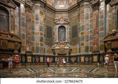 Florence, Italy - July 8 2017: The interior of Medici Chapels in Florence.