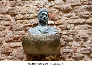 FLORENCE, ITALY - JUN 1, 2018: Bust of Durante degli Alighieri (Dante Alighieri), a major Italian poet at House-Museum of Dante