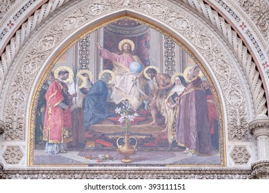 FLORENCE, ITALY - JUNE 05: Christ Enthroned with Mary and St. John the Baptist, Portal of Cattedrale di Santa Maria del Fiore (Cathedral of Saint Mary of the Flower), Florence, Italy on June 05, 2015