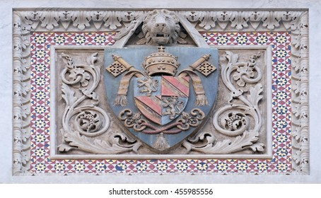 FLORENCE, ITALY - JUNE 05:  Coats of arms of prominent families that contributed to the facade., Portal of Cattedrale di Santa Maria del Fiore, Florence, Italy on June 05, 2015