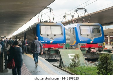Florence, Italy - June 12, 2018 : Trains arriving at Florence Santa Maria Novella (SMN) train station, main rail station in the Florence.