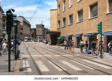 Florence, Italy - June 14, 2018 : View of A Florence tramway station with many passengers waiting to get on the tramway. Florence is one of the most romantic destinations in Europe.