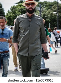 FLORENCE, Italy- June 14 2018:Raimondo Rossi on the street during the Pitti.