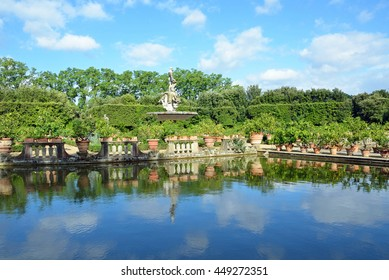 FLORENCE, ITALY - JUNE 15 2016: Isolotto is an oval shaped garden located on the southeastern side of Boboli Gardens and it consists of a tree enclosed pond and a small island.