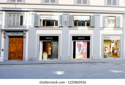 FLORENCE- ITALY, June 18, 2018 :  Pucci   store in Florence at shopping area high fashion brands, most luxurious shopping where is tourist must visiting. Editorial travel and shopping concept.