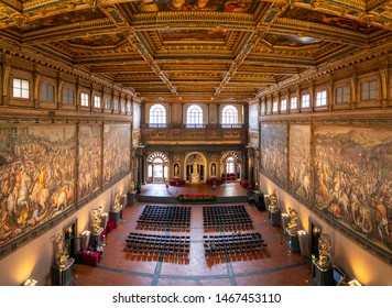 Florence, Italy - June 20, 2019: Panoramic view to Salone dei Cinquecento (Hall of the Five Hundred) at Palazzo Vecchio in Florence, Italy