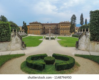 Florence, Italy, June 2017 - Broad and external view of Palazzo Pitti from the Boboli Gardens