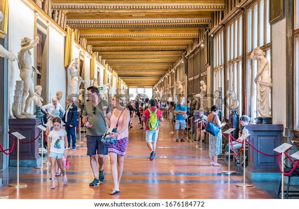 FLORENCE, ITALY - JUNE 21, 2019: The Galleria degli Uffizi is a popular tourist attraction in Florence, Italy.