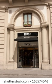 Florence, Italy - June 22, 2013: Hugo Boss boutique at Piazza Della Repubblica. Hugo Boss AG is a German luxury fashion and style house, June 22, 2013, Florence, Italy