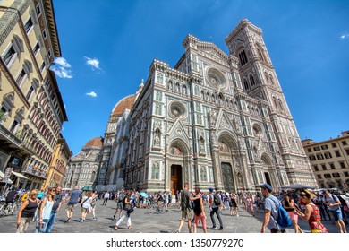 Florence, Italy - June 27, 2018: Cathedral Santa Maria del Fiore, Duomo. Italians call her Duomo. Tourists around the cathedral.
