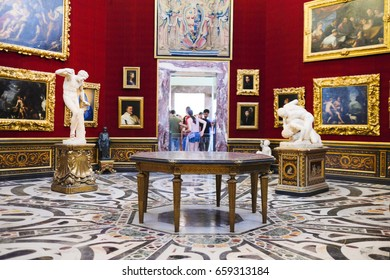 Florence, Italy - June, 5, 2017: interior of Uffizi gallery in Florence, Italy